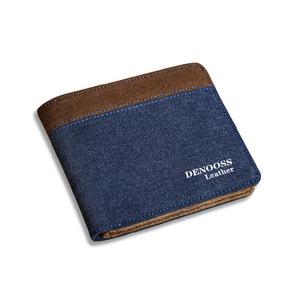 Wallet men's short Canvas Wallet Korean version of the ultra slim Student Wallet fashion card bag a genuine