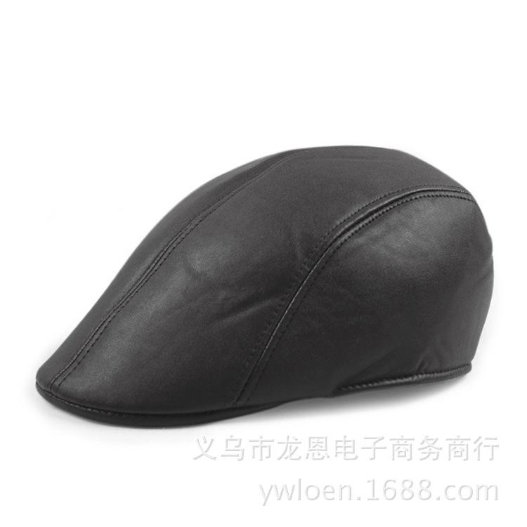 贝雷帽子男士皮质鸭舌帽批发中老年人冬天皮革前进帽男女保暖帽子