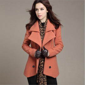 Autumn and winter coat ladies woolen self-cultivation large size double-breasted long section female models woolen coat