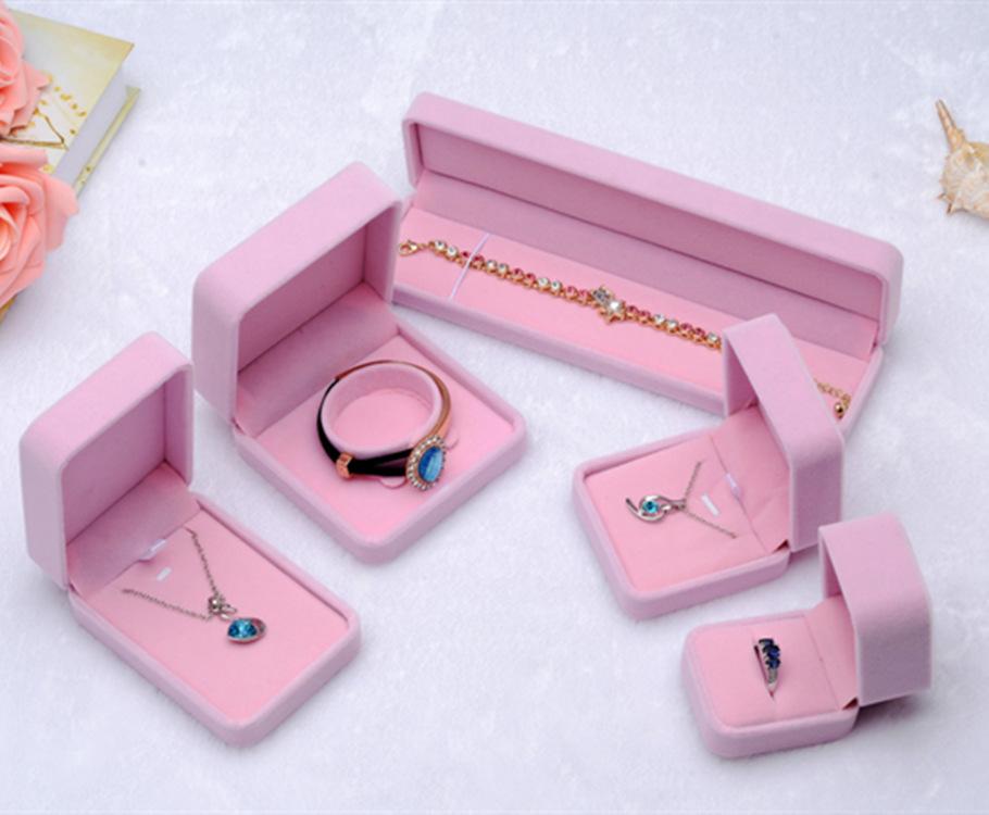 厂家直销首饰盒批发 粉色绒布 项链 戒指 手链大套盒