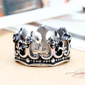 时尚皇冠钛钢戒指 经典潮男女士款316L不锈钢指环饰品
