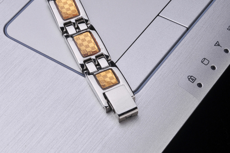 Korea Titanium Stainless Steel Inlaid stones BraceletGeometric (Female 19 5cm)NHZH0366-Female 19 5cm