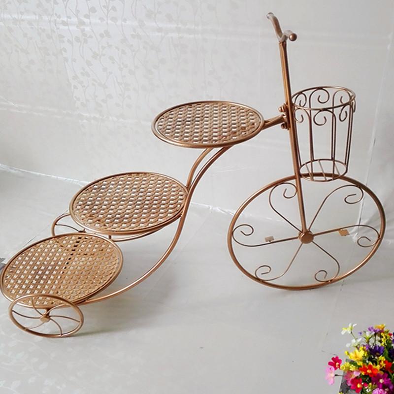 欧式铁艺三层自行车蛋糕架 婚庆三轮车糕点架 梯形置物架 甜品架