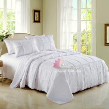 星級酒店床上用品三件套 歐式蕾絲風壓木耳邊純棉素色絎縫繡花被