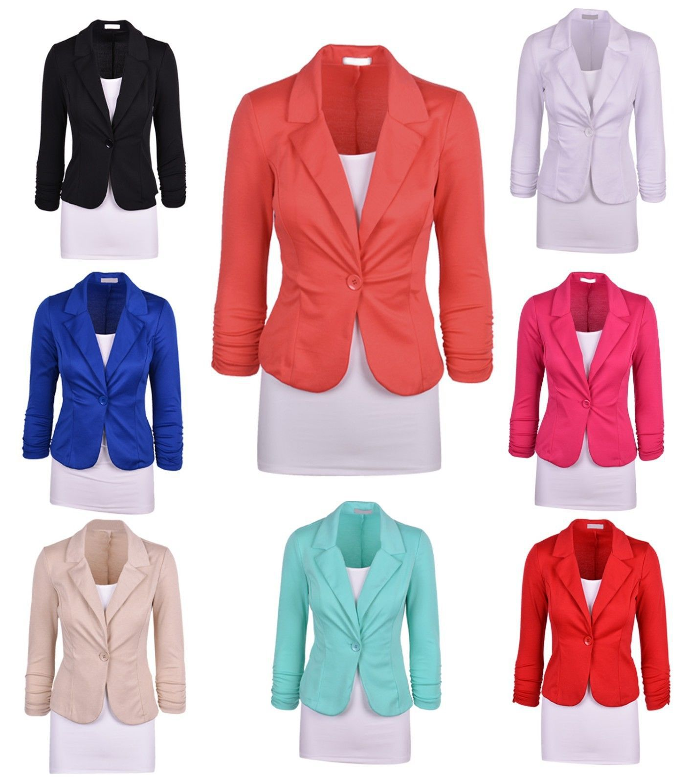 cd69bb1bb6a2 Details about Women s Female Formal or Casual Blazers Jacket Coat Outwear  Plus Size