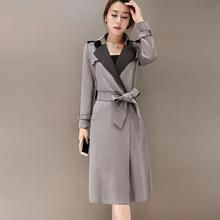 韩版女士气质中长款修身显瘦薄鹿皮绒风衣女外套潮