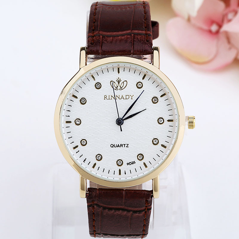 Leisure Ordinary glass mirrorMen s watch (White Brown Strap)NHMM2032-White Brown Strap