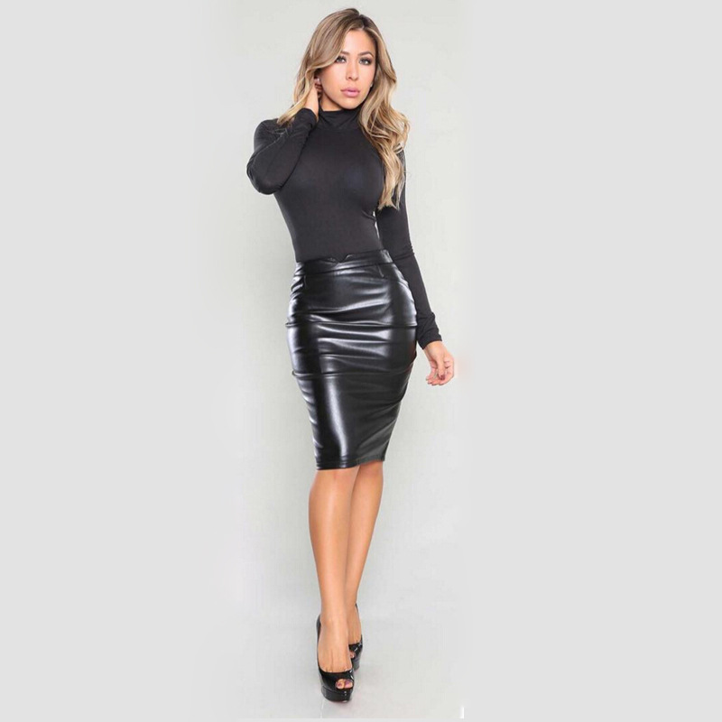 New Women Faux Leather Skirt Bandage Bodycon Vintage High Waist ...