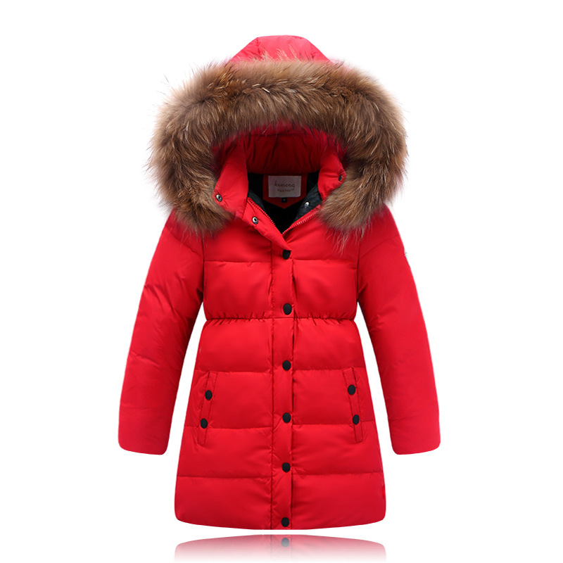 Winter Girls Duck Down Jacket Coat Kids Fur Hooded Long Parka ...