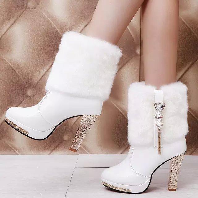 女鞋秋冬季新款欧美短靴防水台高跟粗跟女靴水钻装饰舒适马丁靴子