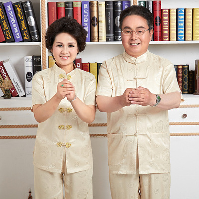 Chinese Tang suit tops Short sleeve Satin suit for men and women in Tang Dynasty