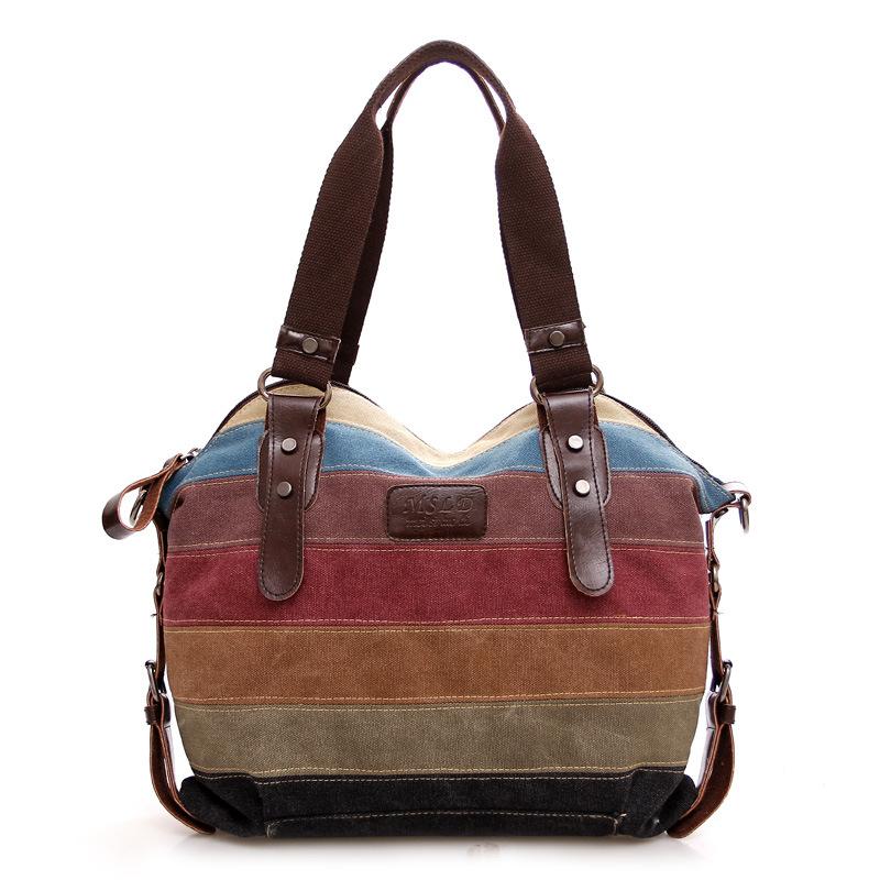 厂家直销帆布包 欧美潮流彩虹条纹帆布包时尚拼接女包水洗布包包