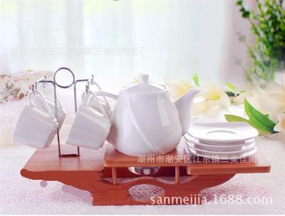 时尚新款简约咖啡杯套装 趣味茶具水杯配竹木托厂家直销少量起批