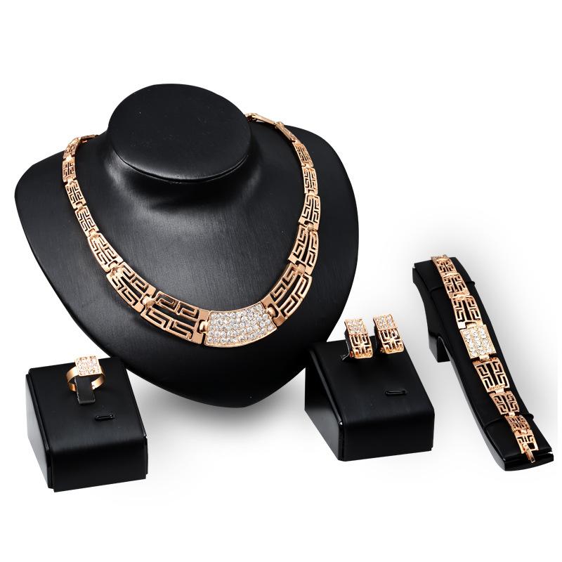跨境热销时尚镀18K金首饰 饰品套装 满钻项链耳环戒指手链四件套