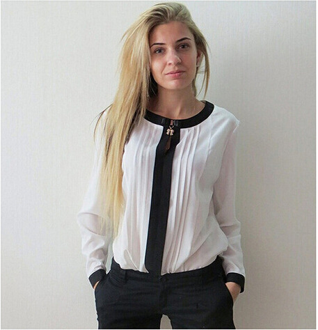 欧美时尚圆领长袖雪纺衫领口吊坠长袖褶皱雪纺衫 速卖通新品