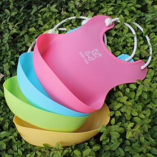The new three-dimensional waterproof children's meal pocket baby imitation silicone bib baby bib saliva towel baby meal pocket