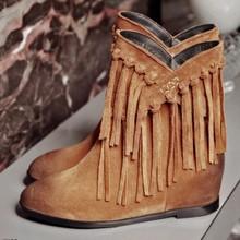 秋冬款磨砂牛皮马丁靴子欧美个性复古休闲潮流流苏靴裸靴女靴短靴