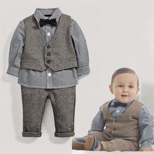 1件代发 男童帅气英伦学院风绅士马甲长袖纯棉四件套(带领结)