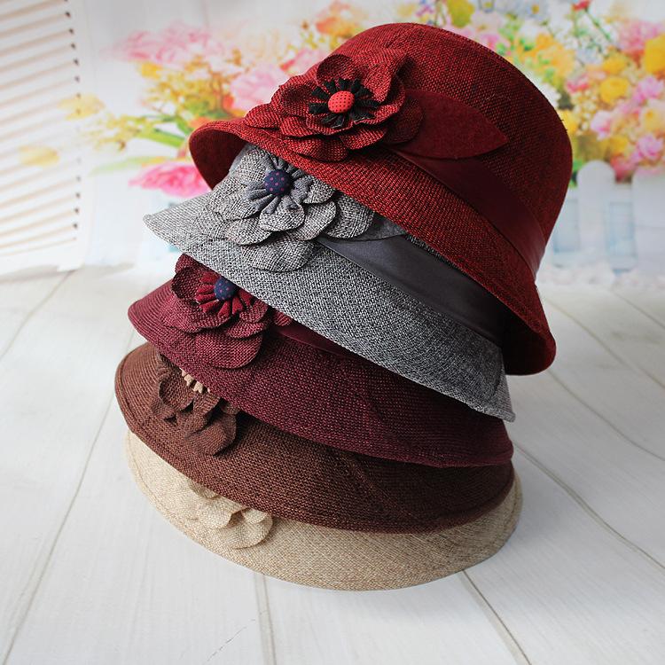 春秋季亚麻面料大花礼帽春夏季中老年女士帽子麻料盆帽遮阳帽子