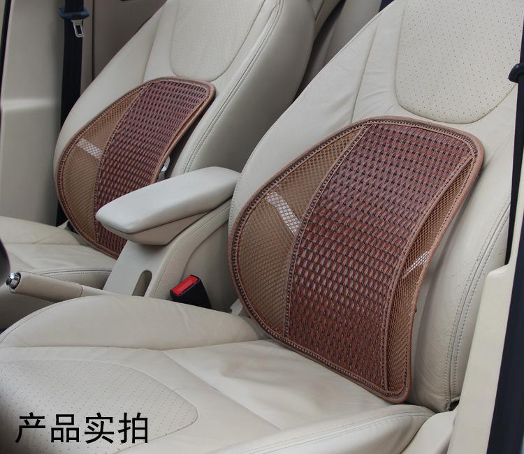 新款汽车腰垫冰丝编织靠垫透气舒适按摩垫靠枕办公座椅护腰垫批发