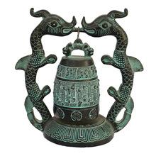 仿古做舊青銅橢圓編鐘 創意家居擺件 古玩銅器工藝品 禮品擺件