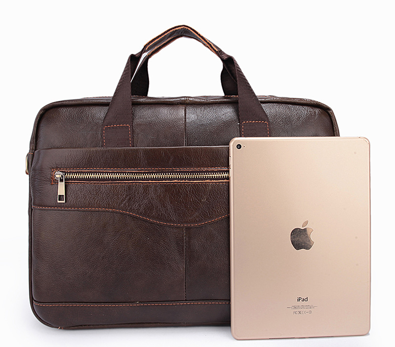 Genuine Leather Briefcases 14 inches Laptop Bags Men's Briefcase Dress Business Handbag Cowhide Work Soft Cowhide Bag Men Gift