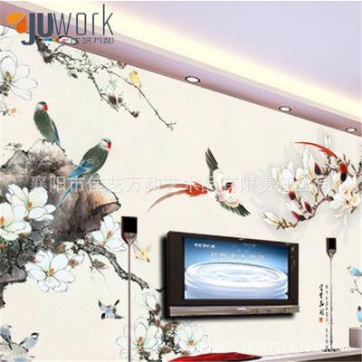 廠家直銷簡約唯美無紡布墻紙 高檔中式時尚壁紙 電視背景壁畫批發