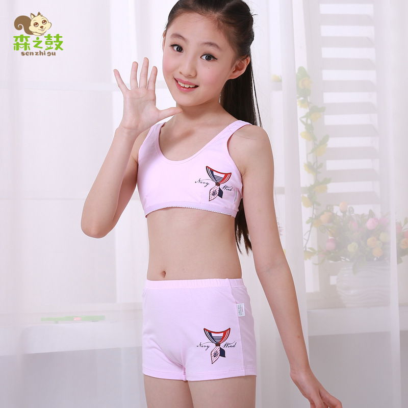 481693c92d Drums Mori girl and development of underwear sets girls cotton underwear  students no rims sports bra