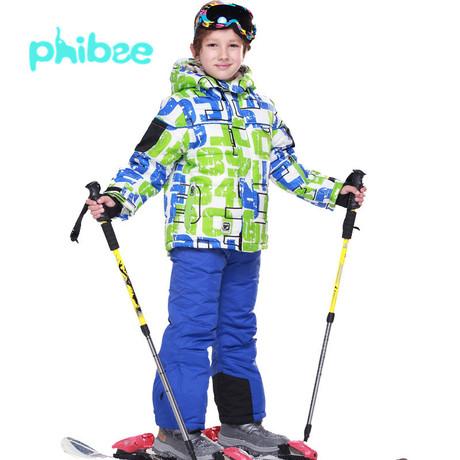 phibee男童加厚儿童滑雪服套装大童两件俄罗斯外贸原单防水防风