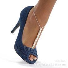 欧美时尚个性珍珠手工脚链异国情调百搭性感新娘脚链潮复古流脚链