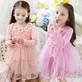 童裝女公主裙女童連衣裙春秋裝新款中大兒童韓版蕾絲全棉女孩裙子