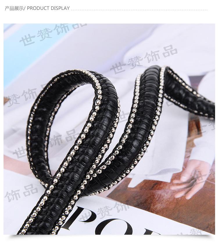 厂家直销1.5珠链电镀色搭配皮绳金属织带 高端包包带女款凉鞋配饰