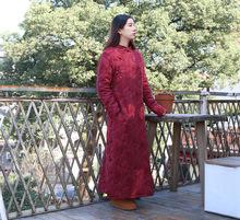 深紅色提花盤扣旗袍 上衣女棉麻中式旗袍橘子洲頭 棉麻 150101-3
