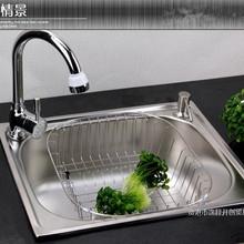 厨房不锈钢水槽 单 洗菜洗碗盆池 一体成型加厚拉丝45x39