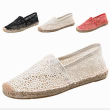 新款草編縫制蕾絲鞋透氣帆布鏤空懶人鞋平底手工麻繩漁夫樂福鞋