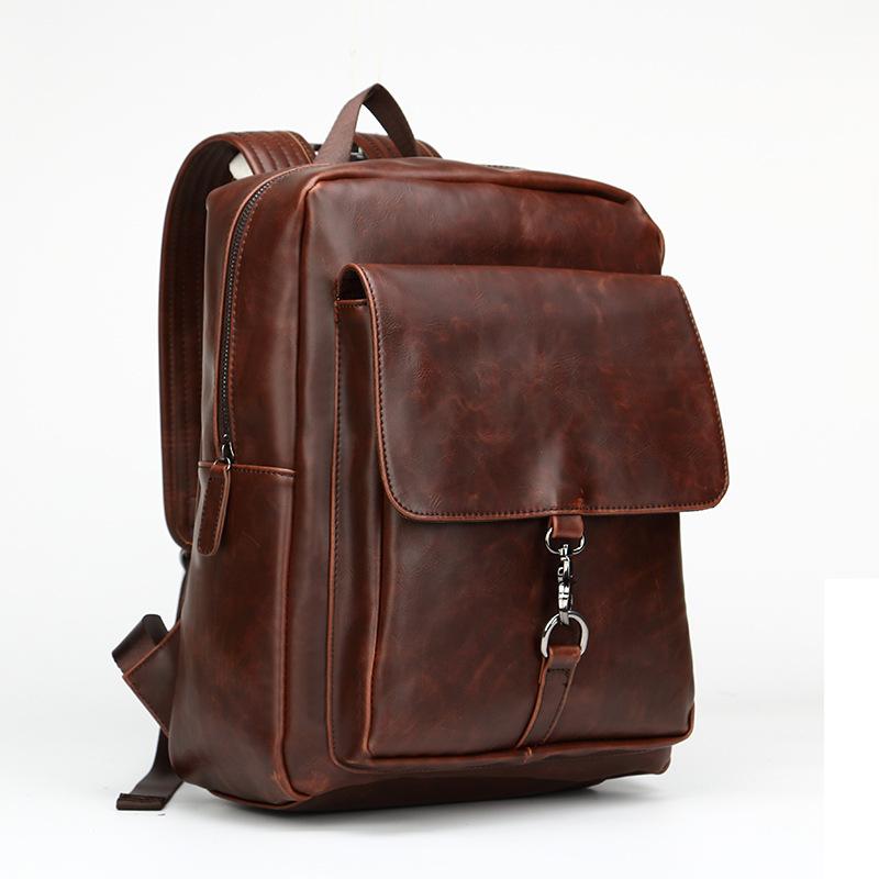 包包2020新款 小清新双肩包韩版潮流时尚男士背包复古疯马皮大包