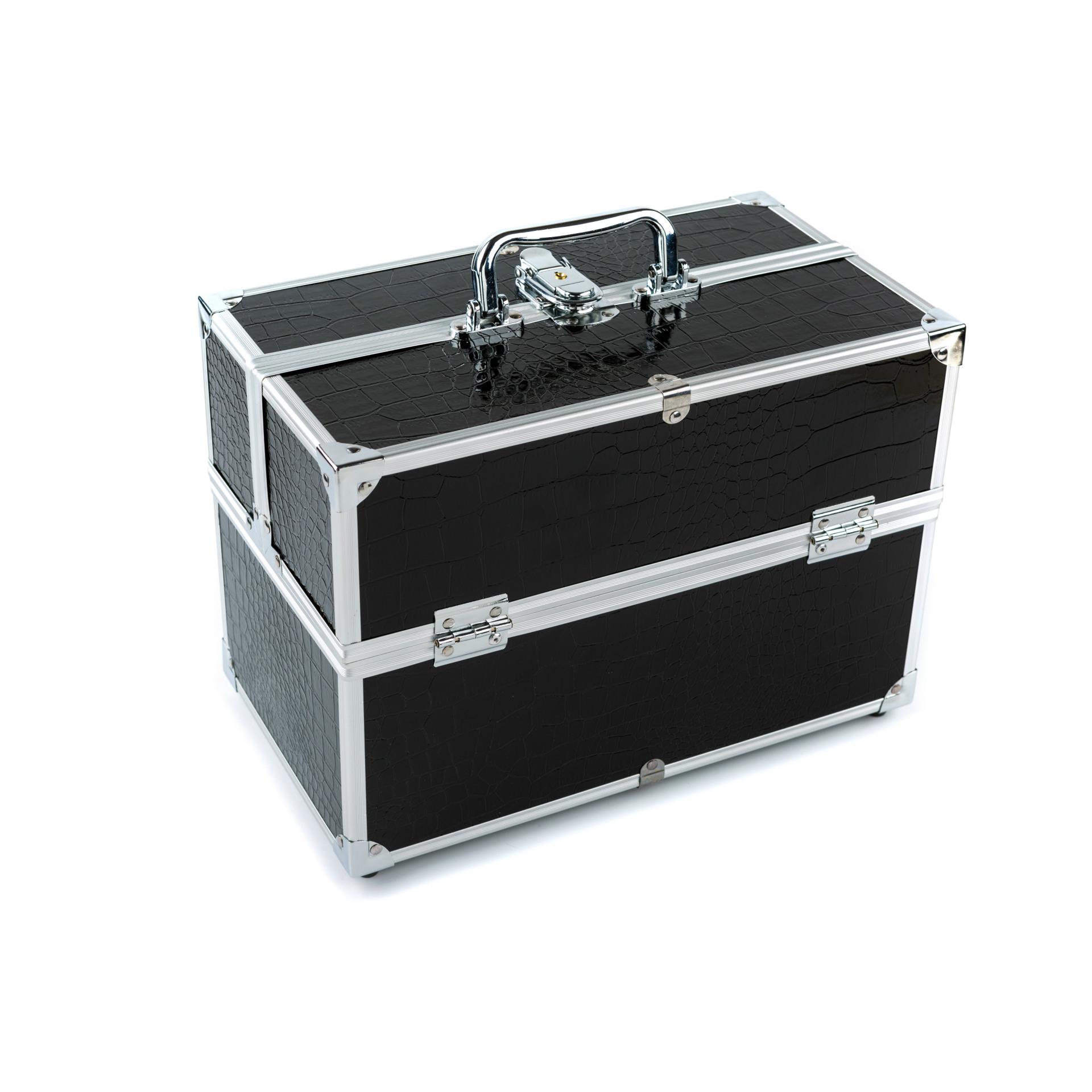厂家供应1232#黑色化妆箱 家用化妆箱 收纳箱 铝箱三层化妆箱专业