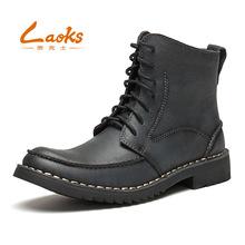 laoks劳克士皮靴男高帮马丁靴侧拉链工装休闲男鞋手工时装靴B058
