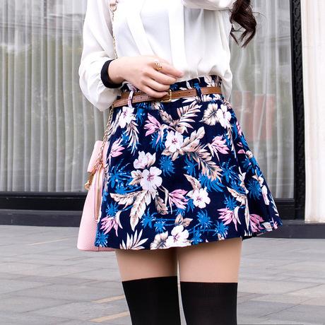 2019년 가을 신상품 허리밴딩 프린팅 스커트 하이웨이스트 스커트 한판 우산 스커트