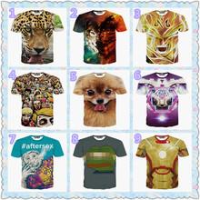 2015夏季新款歐美風3D潮牌豹子彩色狼小狗老虎青蛙圖案圓領短T恤