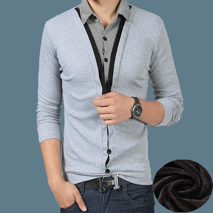 秋冬季保暖襯衫領長袖t恤男 加絨加厚假兩件打底衫棉質加大碼上衣