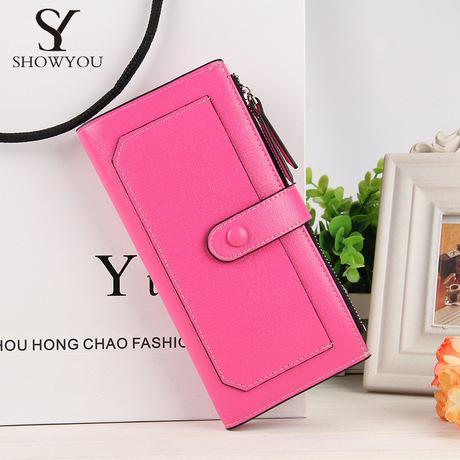 Điểm bán buôn ngoại thương phiên bản tiếng Hàn mới của mẫu tăm nữ ví dài dây kéo khóa túi điện thoại di động nhiều màu thủy triều