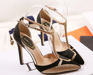 European and American fashion high-heeled shoes pointed diamond color matching sexy sandal
