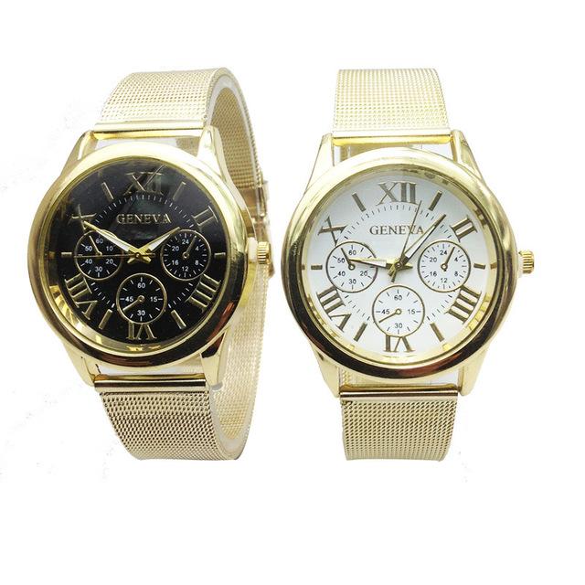 速卖通新款金色网带手表 时尚假三眼女士手表 罗马日内瓦手表批发