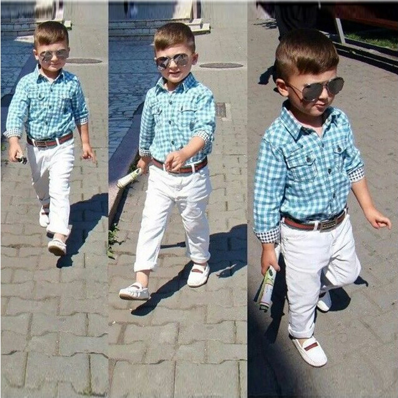 caba970df 3PCS Toddler Baby Boys Outfits Plaid Shirt+Pants+ Belt Summer Gentry ...
