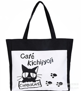 Wholesale supply of Korean canvas printing black and white cat paw leisure bag