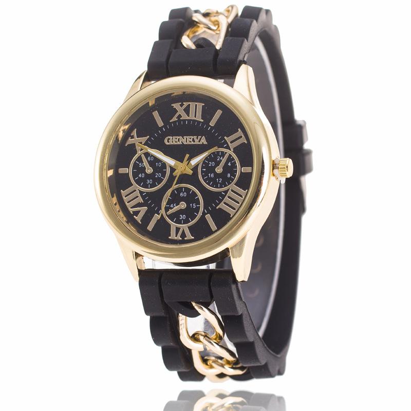 GENEVA日内瓦手表 硅胶罗马字面 假三眼男士链条手表 石英手表