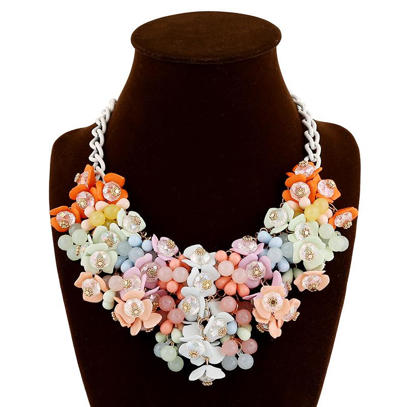 欧美时尚流行项链 彩色花朵夸张项链女配饰跨境电商分销饰品混批