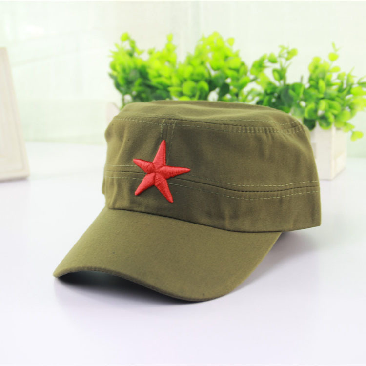 be480d4b6 Designer Cotton Military Hats With Red Star Adjustable Strapback Mens  Womens Vintage Army Cap Cadet Military Patrol Hats Navy Black Green