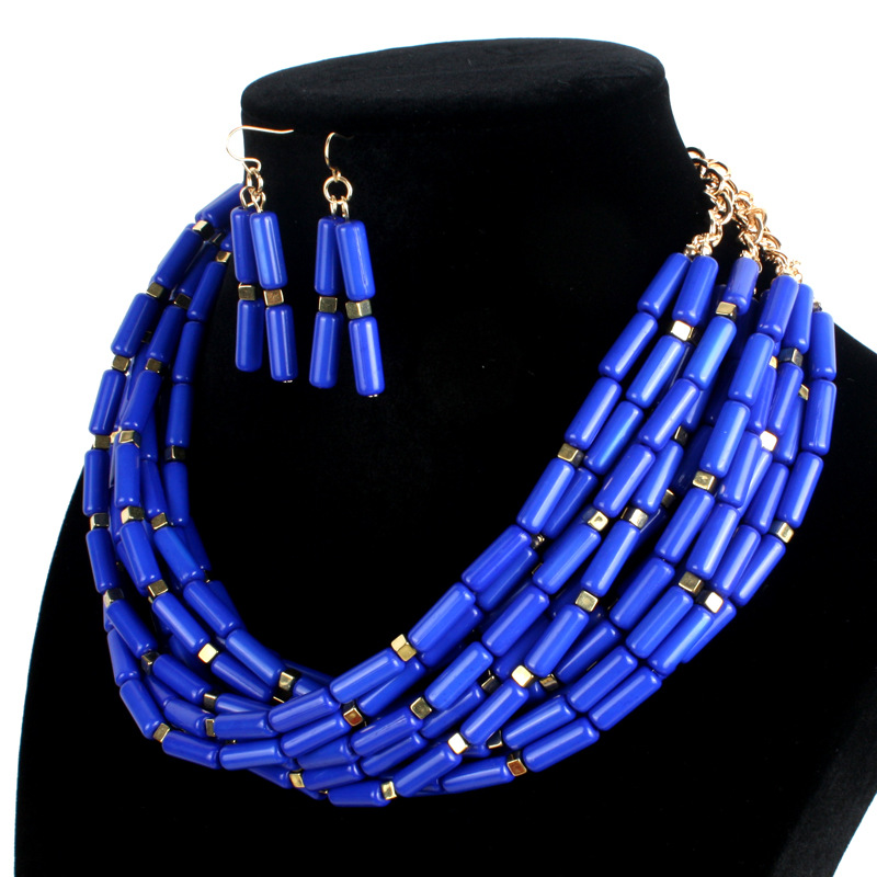 Occident and the United States Resinnecklace (blue)NHCT0045-blue